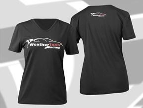 Verblichenes WT Racing Logo Kapuzenshirt mit kurzen Ärmel für Frauen