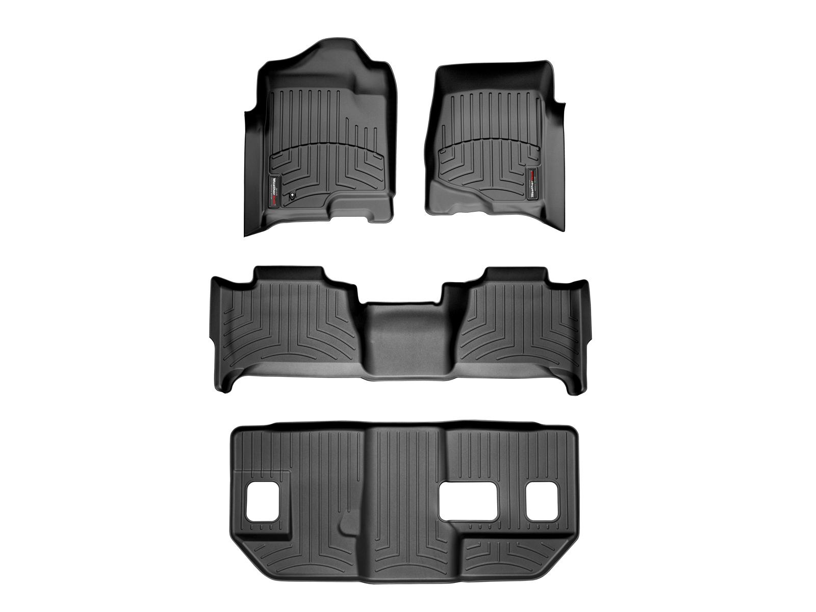 Tappeti gomma su misura bordo alto Cadillac Escalade ESV 07>10 Nero A50*