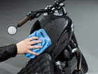 WeatherTech Soaker drying off a motorcycle.  BY WEATHERTECH