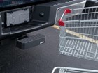Vehicle with BumpStep installed and shopping cart. BY WEATHERTECH
