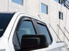 white truck with Side Window Deflector BY WEATHERTECH