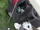 CupFone in golf cart cup holder.  BY WEATHERTECH