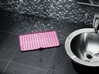 Pink FlexTray in use as a pink bathroom liner. BY WEATHERTECH