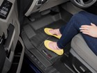 Woman wearing yellow shoes on FloorLiner. BY WEATHERTECH