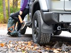 MudFlaps installed on a Jeep near a hiking trail, BY WEATHERTECH