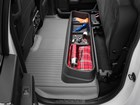 Ice fishing supplies in under sear storage. BY WEATHERTECH