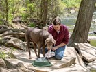 man and dog with Single Low Pet Feeding System  BY WEATHERTECH