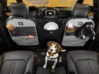 Dog in the backseat with Pet Partition installed. BY WEATHERTECH