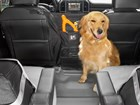 Pet Partition installed with dog in backseat BY WEATHERTECH