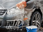 Silver care being washed with gentle car shampoo. BY WEATHERTECH