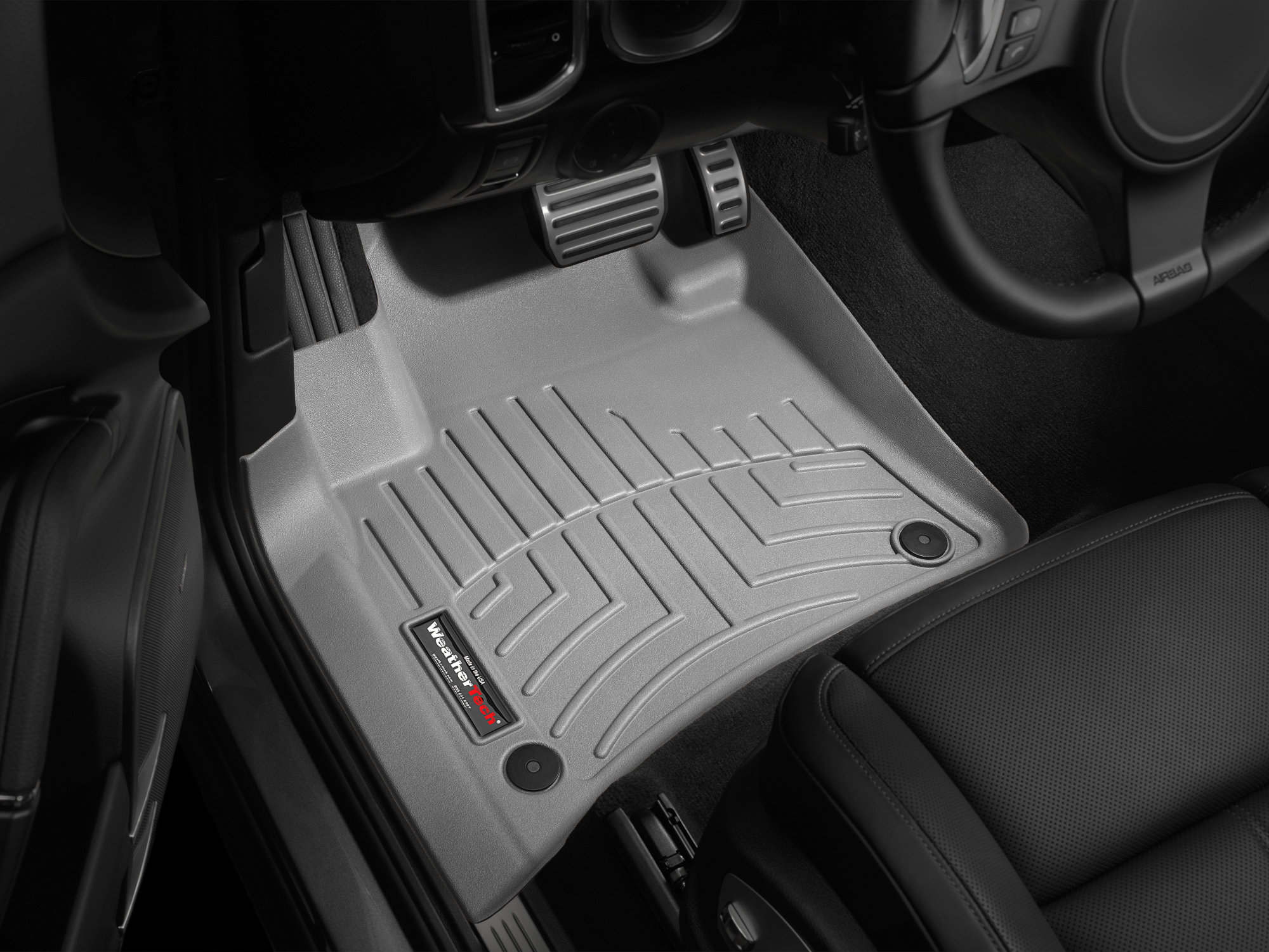 Tappeti gomma su misura bordo alto Volkswagen Touareg 11>17 Grigio A4328*