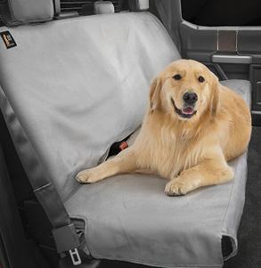Golden Retriever dog on a grey Seat Protector.
