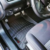 Black floorliner installed in a vehicle