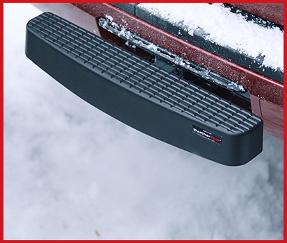 Image shown of a vehicle's bumper with the WeatherTech Bumper Protection attached to the trailer hitch of the vehicle.