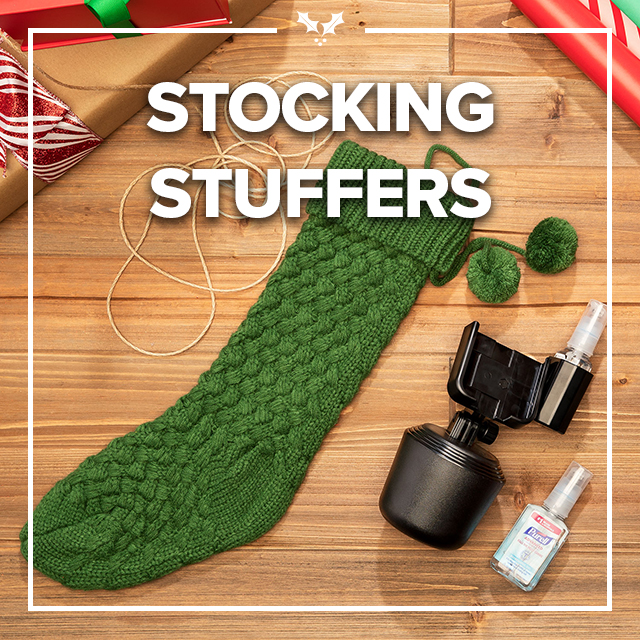 Image of text that says Stocking Stuffers with a stocking and CupFone with hand sanitizer.