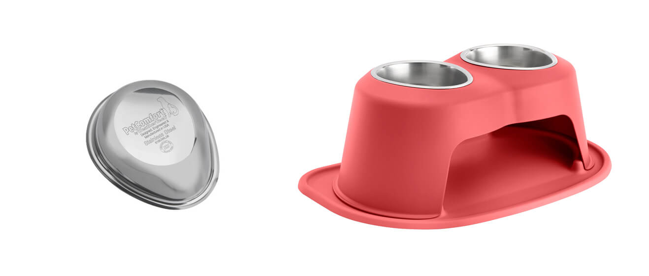 PetComfort Food Bowl and Red Double High Feeding System. Both are certified by the NSF for human consumption.