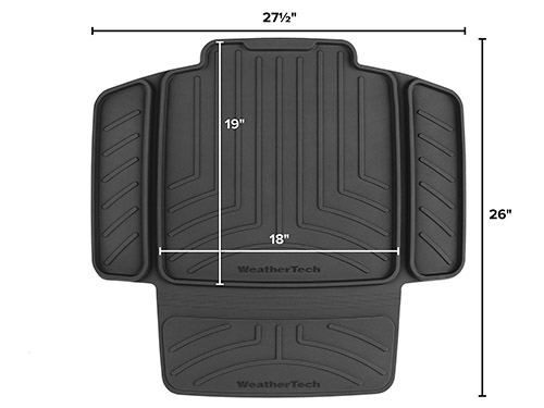 child car seat protector diagram with dimensions.