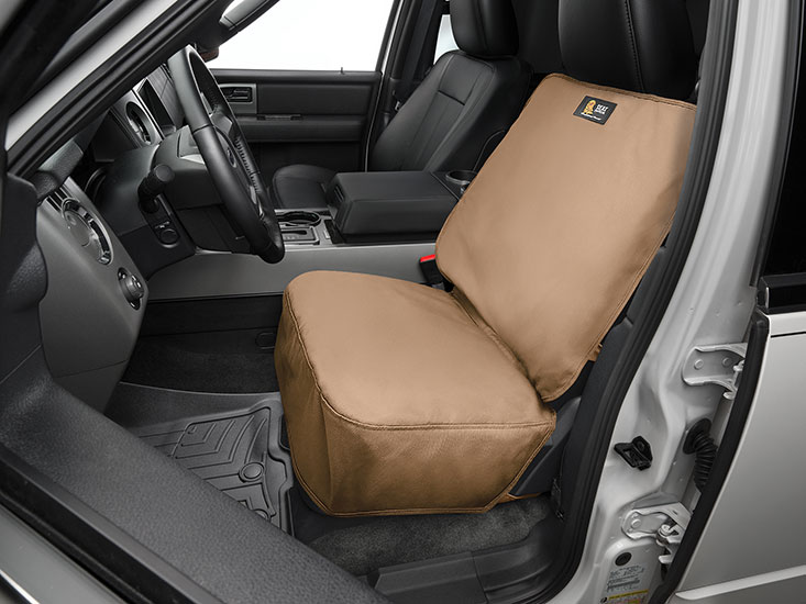 Tan WeatherTech Seat Protector on front seat of unidentified SUV.