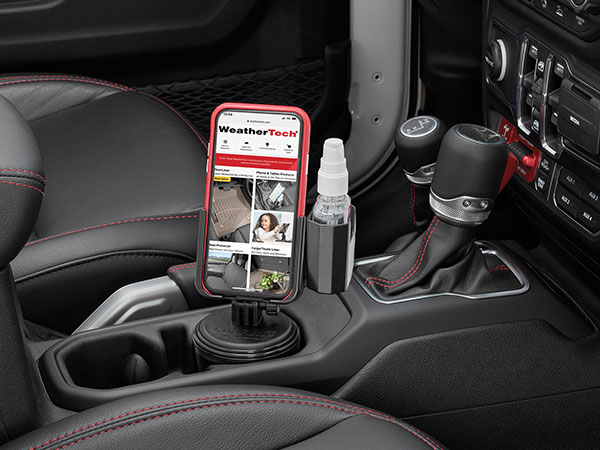 CupFone with Hand Sanitizer Holder in car