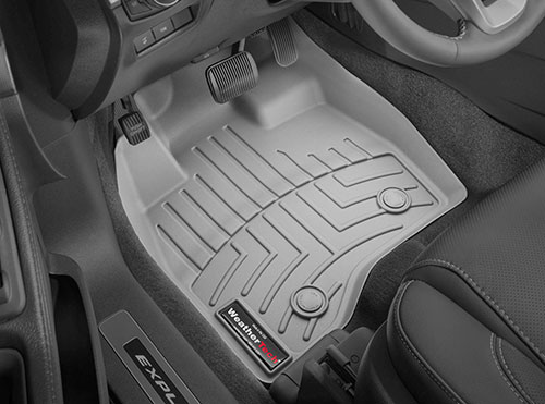 Top side view of button clip fasteners on WeatherTech floor mats
