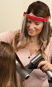 Face Shield Air in use at a salon.