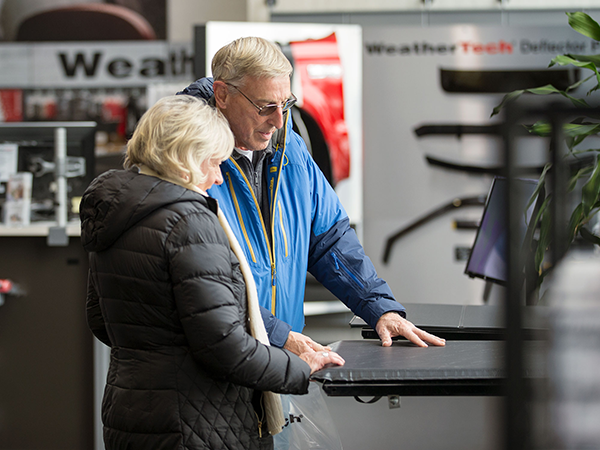 Customers in the WeatherTech Factory Store