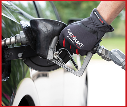 Photograph of a man pumping gas into a vehicle while wearing a FuelGlove.