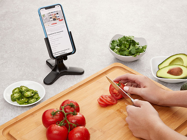 WeatherTech DeskFone being used on a kitchen coutertop to view a recipe.