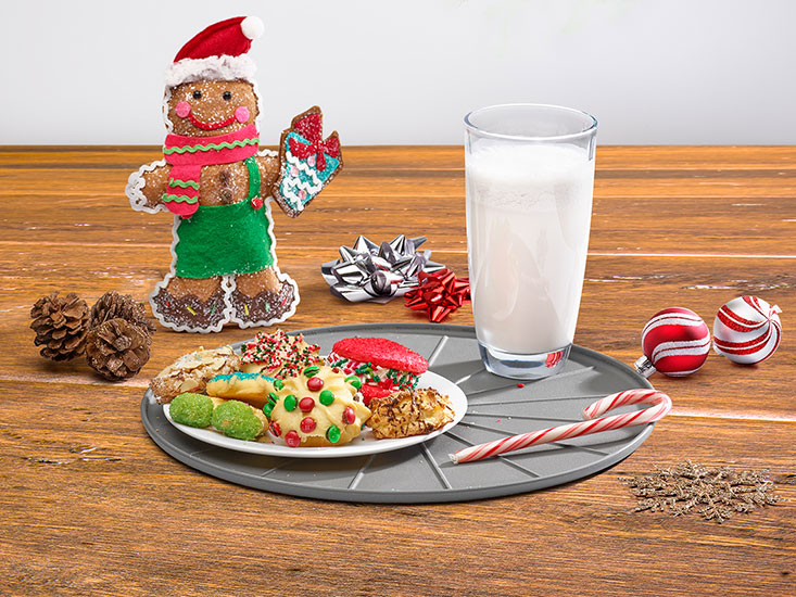 WeatherTech Coasters with cookies, milk and a candy cane.