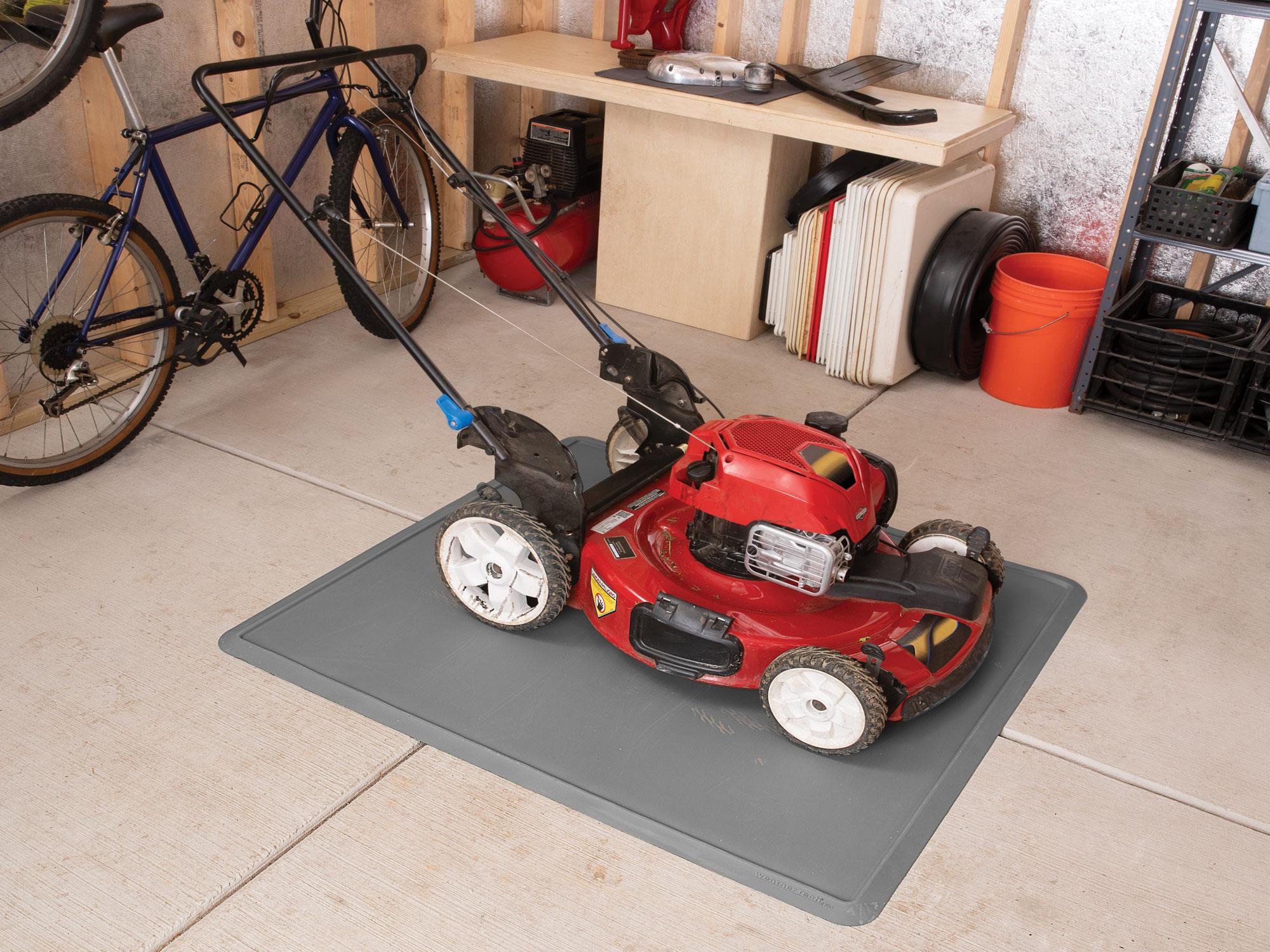 Lawnmower on an All Purpose Mat.