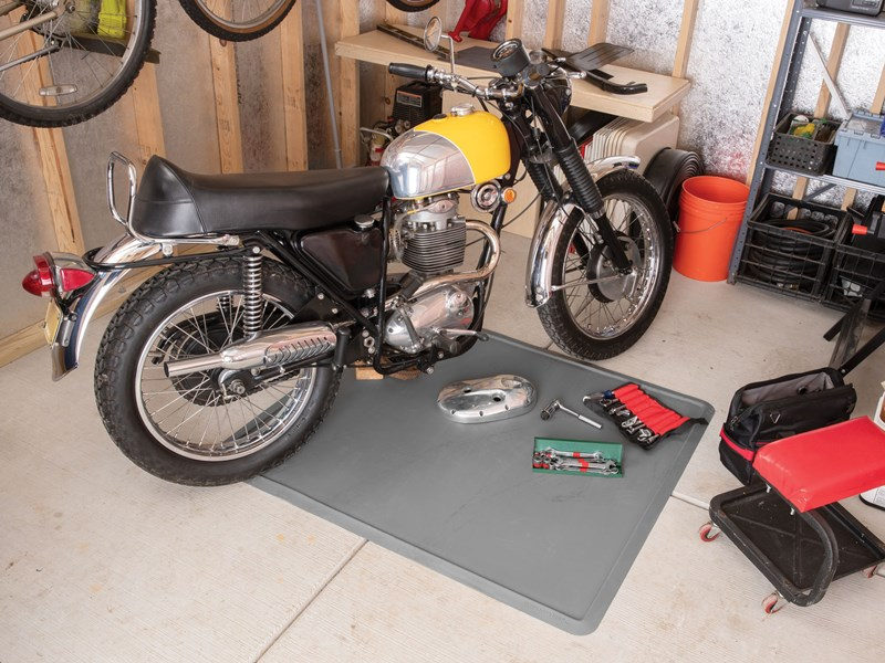 Motorcycle on All Purpose Mat