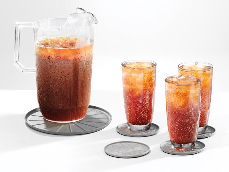 Coasters with iced tea