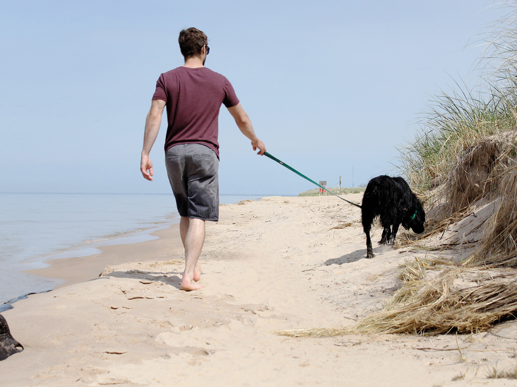Man_walking_dog_on_beach