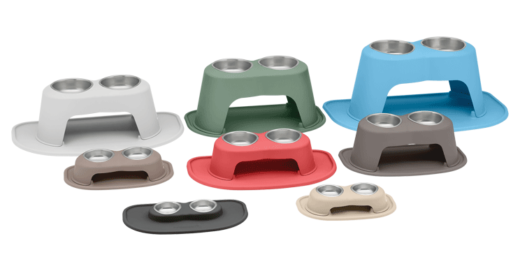 Assortment of sizes and colors of double high feeding systems.