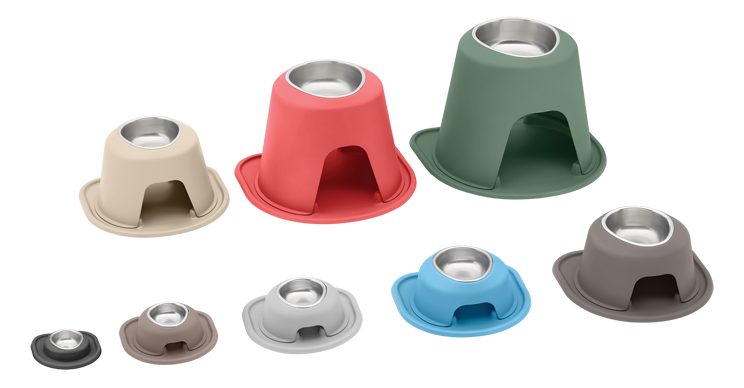 Assortment of sizes and colors of single high feeding systems.
