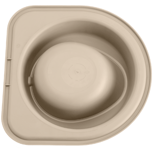 Tan single high feeding system with no bowl.