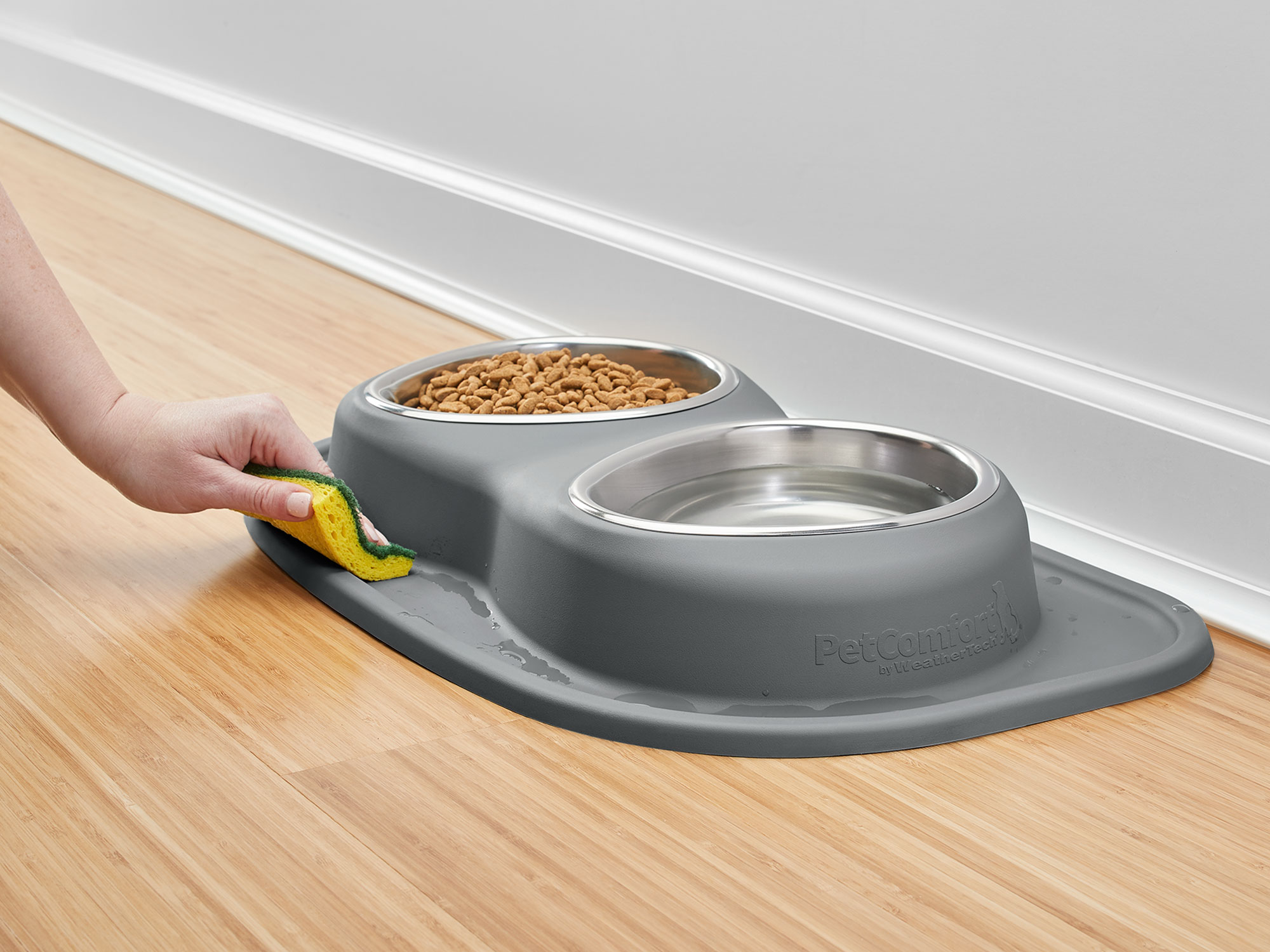 The pet feeding station, and the WeatherTech dog bowls are easy to clean and dishwasher safe!