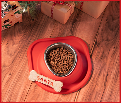 Photograph of a red Pet Feeding System with christmas decorations and gifts in the background.