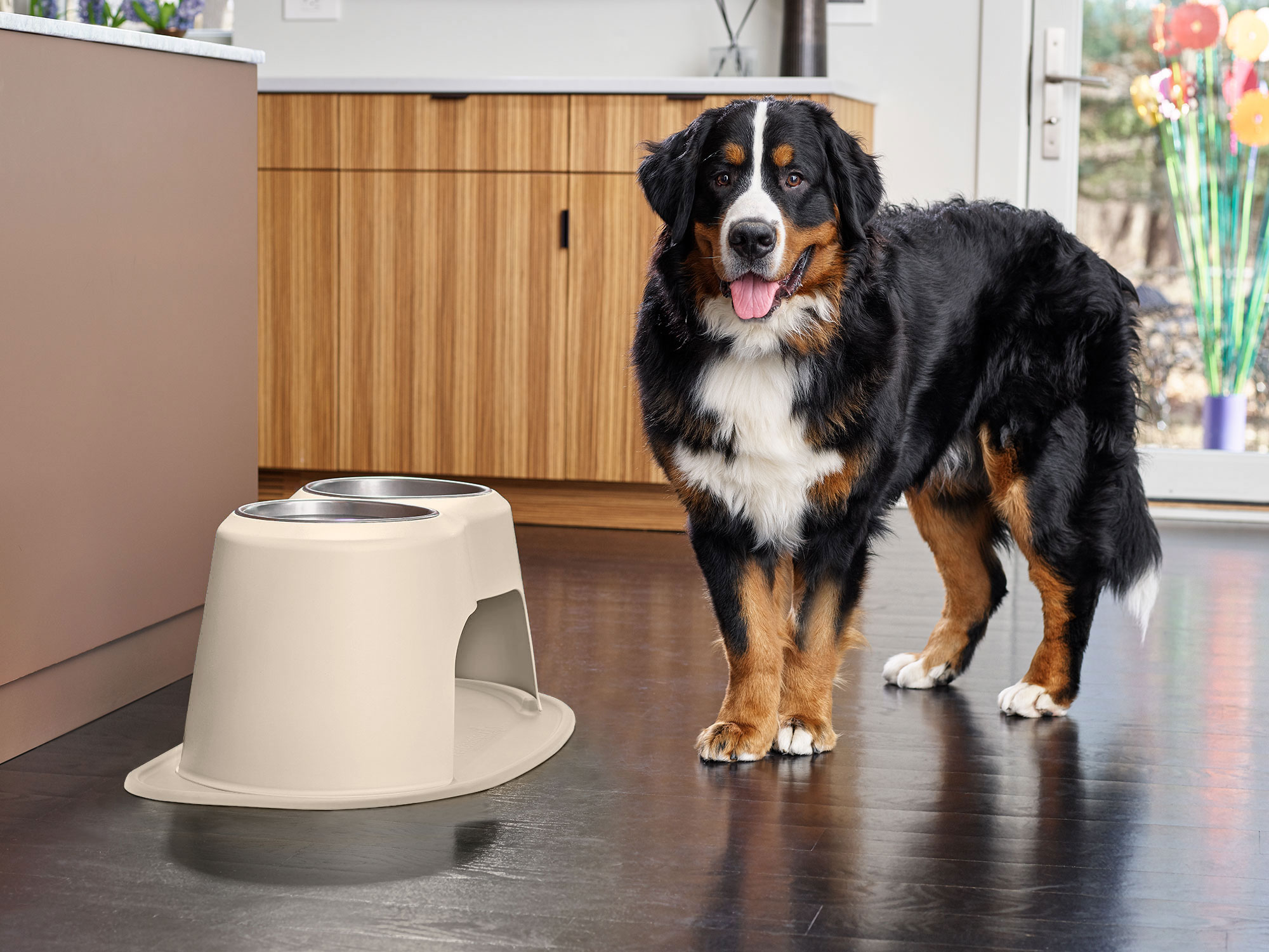 WeatherTech dog bowls fit perfectly into the feeding station's elevated stand and mat.
