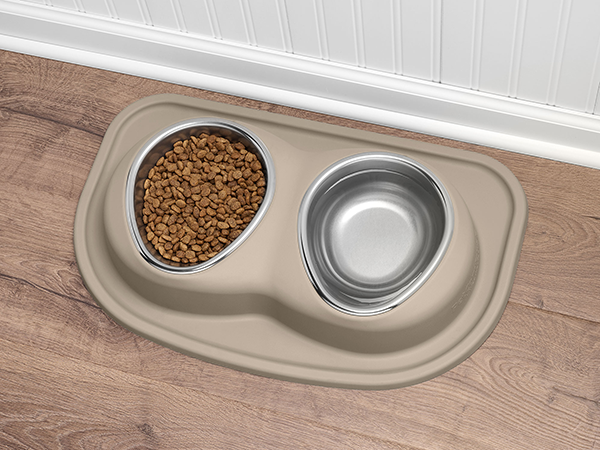 double low dog feeding system in kitchen - tan