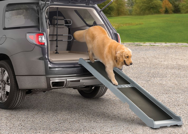 The Pet Ramp helps pets in and out of the vehicle
