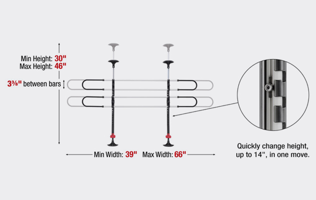 WeatherTech Pet Barrier horizontal and vertical dimensions.