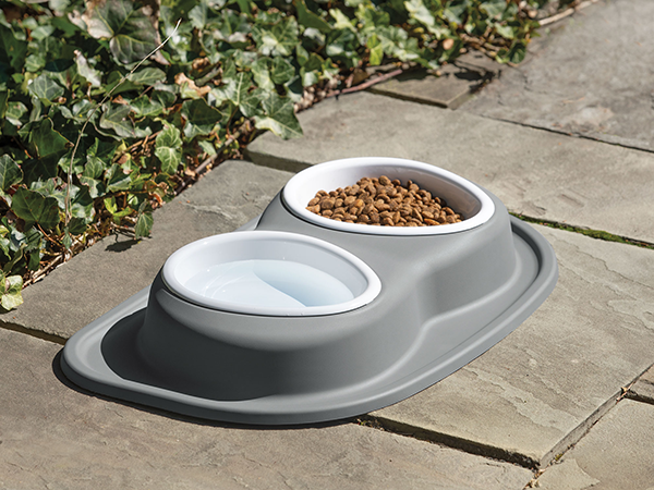 double low dog feeding system on patio – light gray