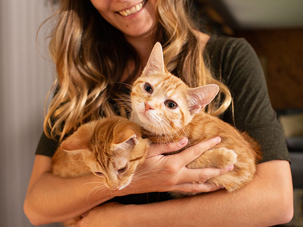 Young Woman holding two cats