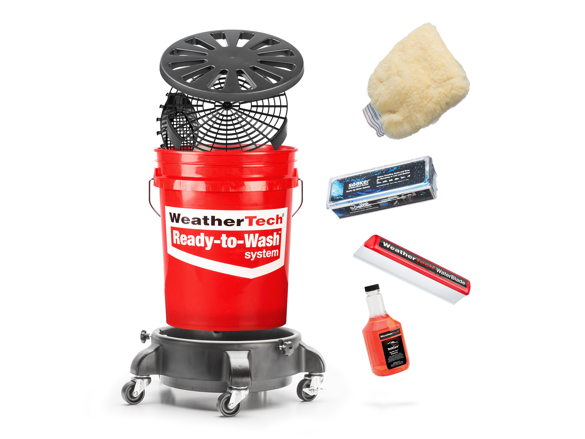 Content of Ready to Wash kit showing bucket, MittSaver, and WaterBlade.