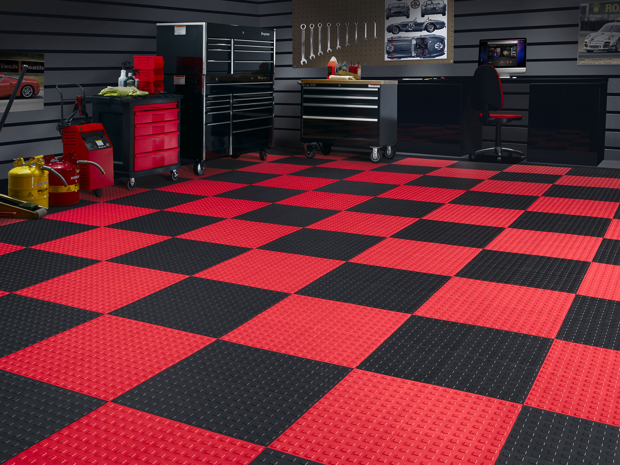 Red and Black TechCare installed in a garage.