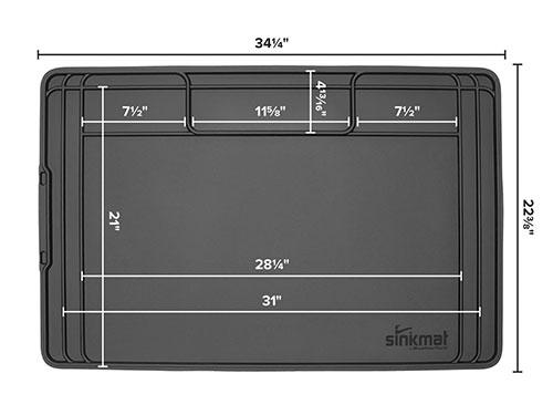 SinkMat diagram with dimensions.