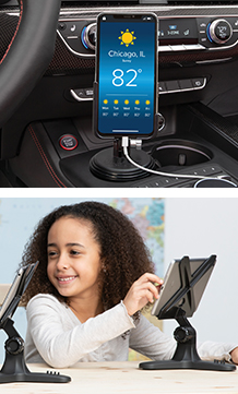 Images of a CupFone with hand sanitizer holder and a child using the WeatherTech TabletHolder.