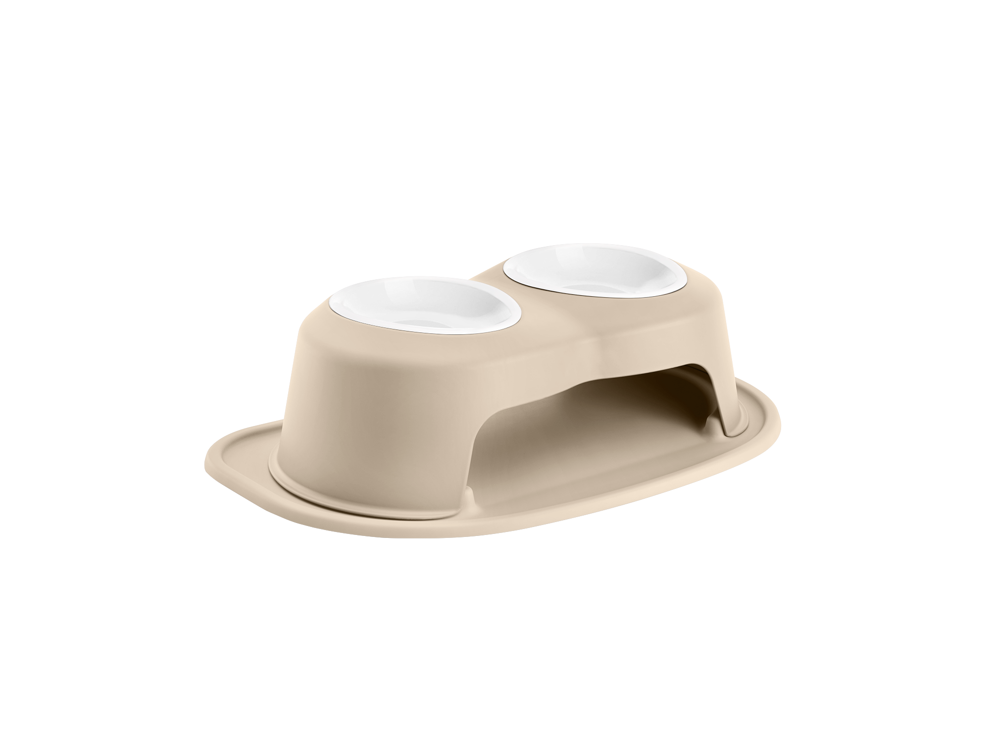 Double High Tan Pet Feeding System with 32-ounce bowls. This stand is 6 inches tall and is ideal for small to medium sized pets.
