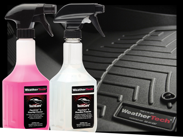 Close up on bottles of TechCare FloorLiner and TechCare FloorMat Cleaner in front of a FloorLiner.